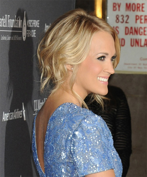 Carrie Underwood  Long Curly Formal   Updo Hairstyle   -  Blonde Hair Color with Light Blonde Highlights - Side on View