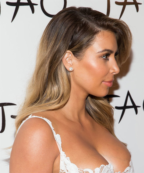 Kim Kardashian Long Straight    Chestnut Brunette   Hairstyle   with Dark Blonde Highlights - Side on View
