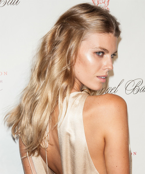 Maryna Linchuk  Long Straight Casual   Half Up Hairstyle   - Medium Strawberry Blonde Hair Color - Side on View