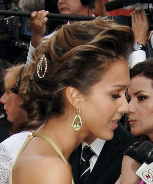 Jessica Alba Updo Long Curly Formal Wedding Updo Hairstyle   - Medium Brunette (Mocha) - Side on View