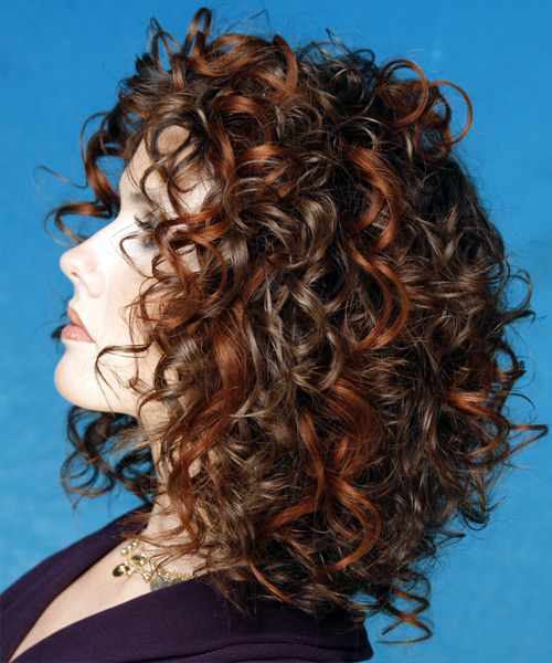 Medium Curly Formal    Hairstyle   - Dark Brunette Hair Color - Side on View