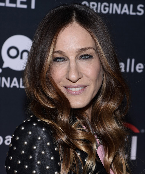 Sarah Jessica Parker Long Wavy Casual    Hairstyle   - Dark Brunette Hair Color - Side on View