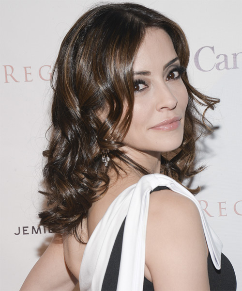 Emmanuelle Vaugier Medium Wavy Formal   Hairstyle   - Medium Brunette (Chocolate) - Side on View