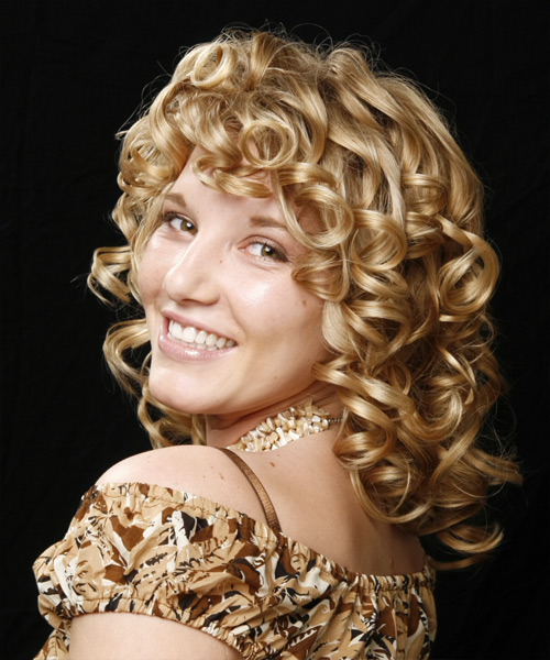 Medium Curly Formal   Hairstyle   - Medium Blonde - Side on View