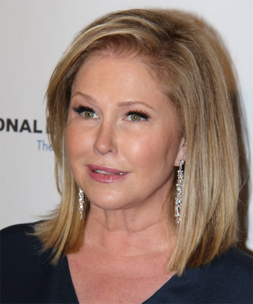 Kathy Hilton Medium Straight Casual    Hairstyle   -  Golden Blonde Hair Color with Light Blonde Highlights - Side on View