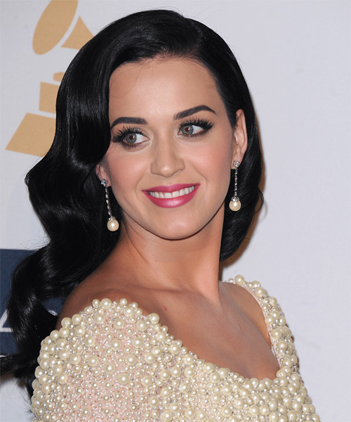 Katy Perry Long Wavy   Black Ash    Hairstyle   - Side on View