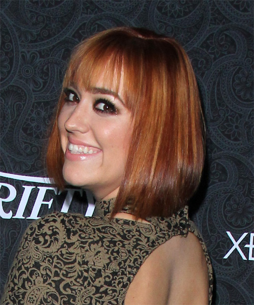 Andrea Bowen Medium Straight Casual Bob  Hairstyle with Blunt Cut Bangs  - Medium Red (Copper) - Side on View
