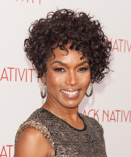 Angela Bassett Short Curly Formal   Hairstyle   - Dark Brunette (Mocha) - Side on View