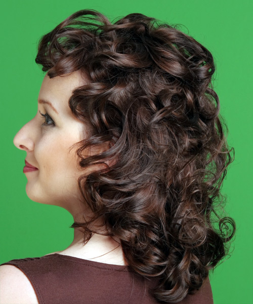 Medium Curly   Chocolate   Hairstyle   - Side on View