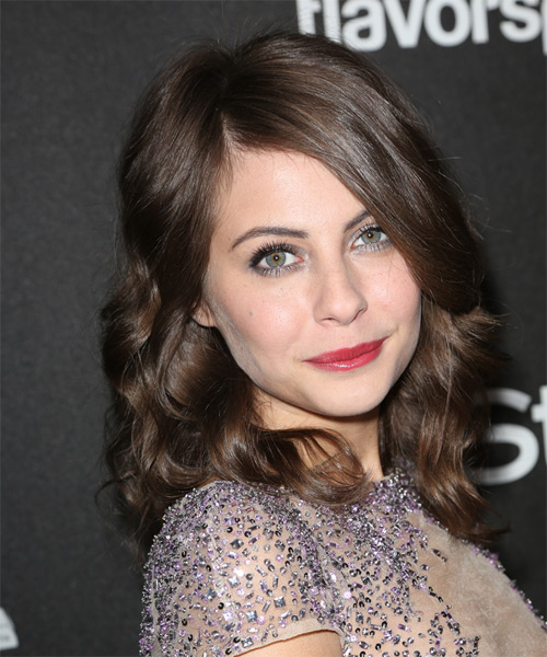 Willa Holland Medium Wavy Formal    Hairstyle   - Medium Brunette Hair Color - Side on View