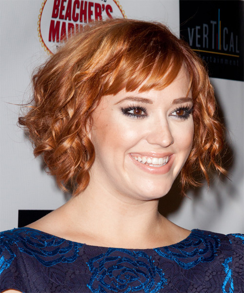 Andrea Bowen Short Wavy    Copper Red   Hairstyle with Blunt Cut Bangs  - Side on View