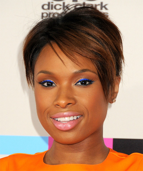 Jennifer Hudson Short Straight Formal   Hairstyle with Side Swept Bangs  - Black (Auburn) - Side on View