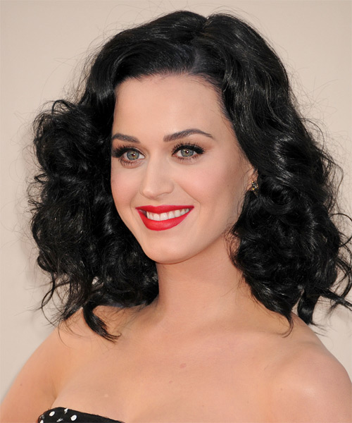 Katy Perry Medium Wavy   Black    Hairstyle   - Side on View