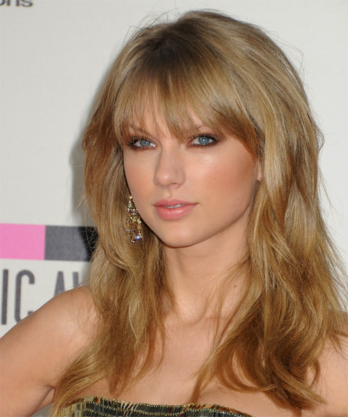 Taylor Swift Long Straight   Dark Golden Blonde   Hairstyle with Layered Bangs  - Side on View