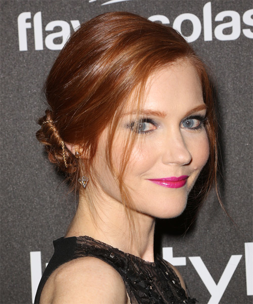 Darby Stanchfield Updo Long Straight Formal Wedding Updo Hairstyle   - Medium Red (Ginger) - Side on View