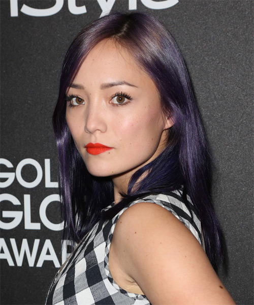 Pom Klementieff Long Straight Casual   Hairstyle   - Purple - Side on View