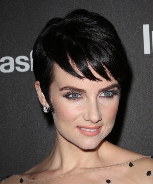 Victoria Summer Short Straight Formal  Pixie  Hairstyle with Side Swept Bangs  - Dark Mocha Brunette Hair Color - Side on View
