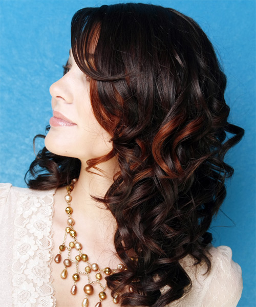 Long Curly   Black    Hairstyle   with  Red Highlights - Side on View