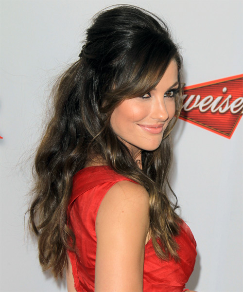 Minka Kelly Half Up Long Curly Casual  Half Up Hairstyle with Side Swept Bangs  - Dark Brunette (Ash) - Side on View