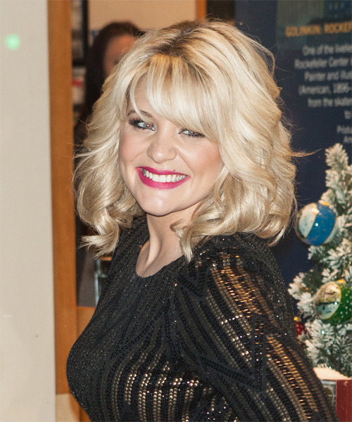 Lauren Alaina Medium Wavy Formal   Hairstyle with Side Swept Bangs  - Light Blonde - Side on View