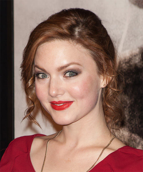 Holliday Grainger Updo Medium Curly Formal Wedding Updo Hairstyle   - Medium Red (Ginger) - Side on View