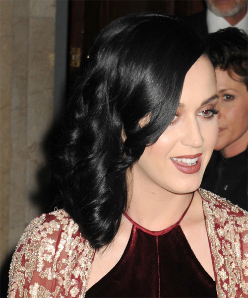 Katy Perry Medium Wavy Formal   Hairstyle   - Black (Ash) - Side on View