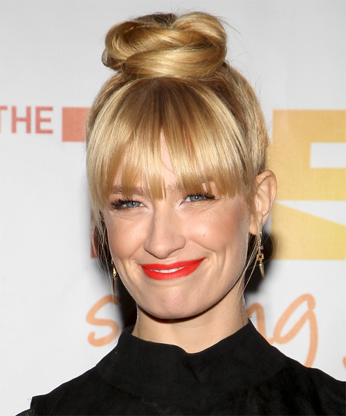 Beth Behrs  Long Straight Formal   Updo Hairstyle   - Light Golden Blonde Hair Color - Side on View