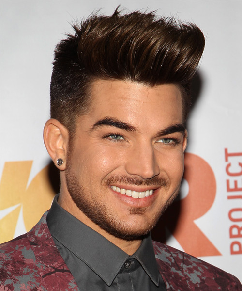 Adam Lambert Short Straight Casual   Hairstyle   - Medium Brunette - Side on View