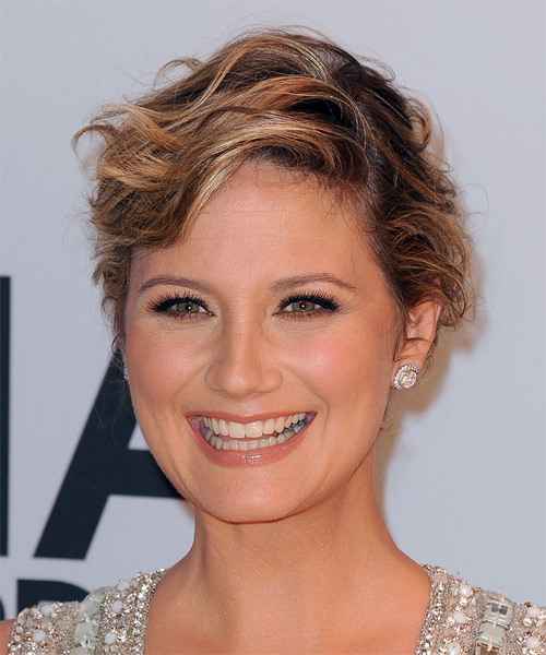 Jennifer Nettles Short Wavy Formal   Hairstyle   - Dark Blonde (Copper) - Side on View