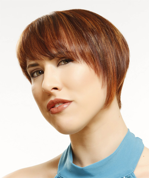 Short Straight    Mahogany Red   Hairstyle with Layered Bangs  and  Blonde Highlights - Side on View