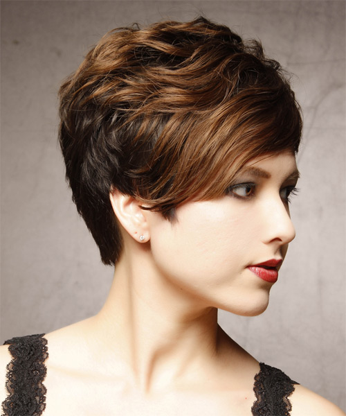 Short Wavy Formal    Hairstyle   - Dark Brunette Hair Color with Light Brunette Highlights - Side on View