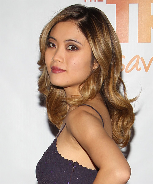 Jessica Lu Long Wavy Formal   Hairstyle   - Medium Brunette (Golden) - Side on View