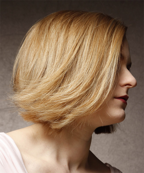 Medium Straight    Golden Blonde Emo  Hairstyle   with Light Blonde Highlights - Side on View