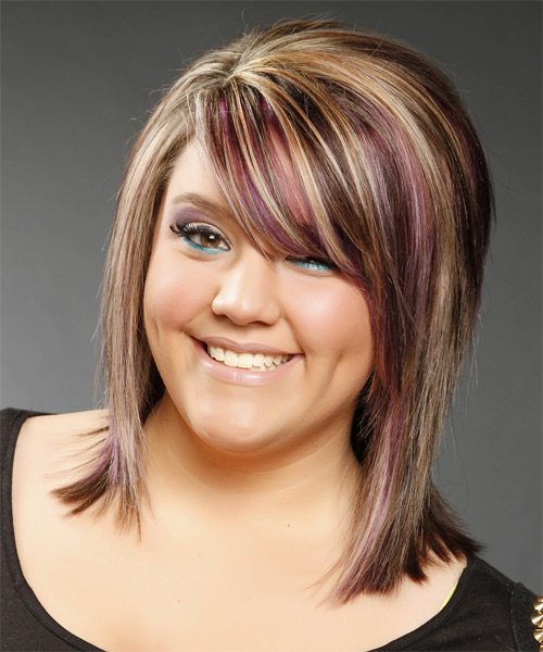 Medium Straight Formal    Hairstyle with Side Swept Bangs  -  Caramel Brunette Hair Color with Purple Highlights - Side on View
