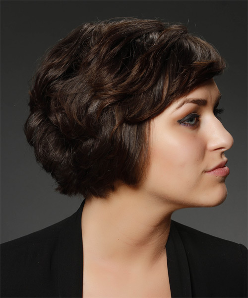 Short Straight   Chocolate Asymmetrical  Hairstyle   - Side on View