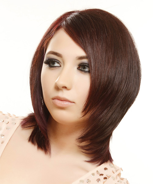 Medium Straight    Red   Hairstyle   - Side on View