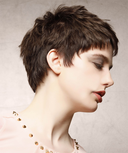 Short Straight   Dark Mocha Brunette   Hairstyle with Layered Bangs  - Side on View