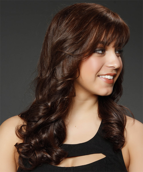 Long Wavy Formal    Hairstyle with Layered Bangs  - Medium Chocolate Brunette Hair Color - Side on View