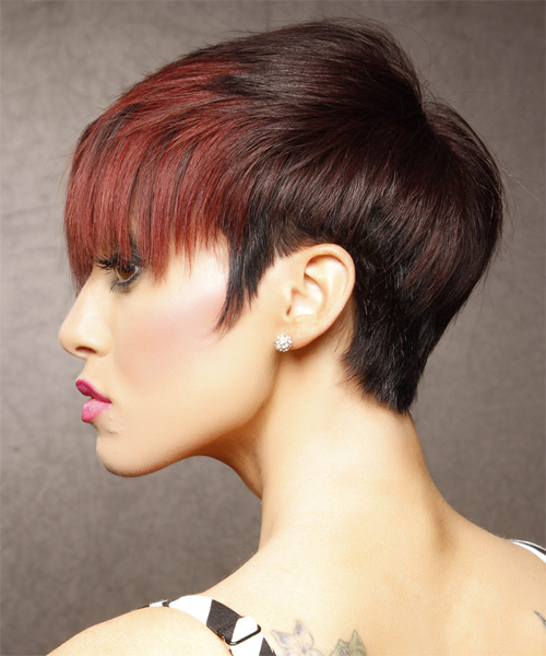 Short Straight Alternative  Emo  Hairstyle with Layered Bangs  - Black  and  Red Two-Tone Hair Color - Side on View