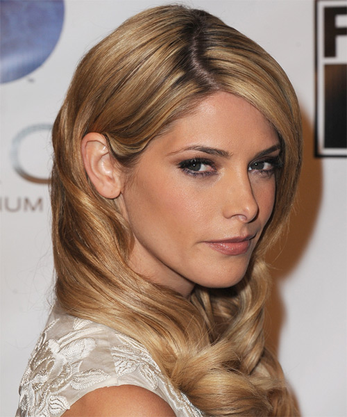 Ashley Greene Long Wavy Formal    Hairstyle   - Medium Golden Blonde Hair Color with Light Blonde Highlights - Side on View