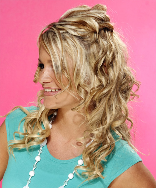 Half Up Long Curly Formal  Half Up Hairstyle   - Medium Blonde (Golden) - Side on View
