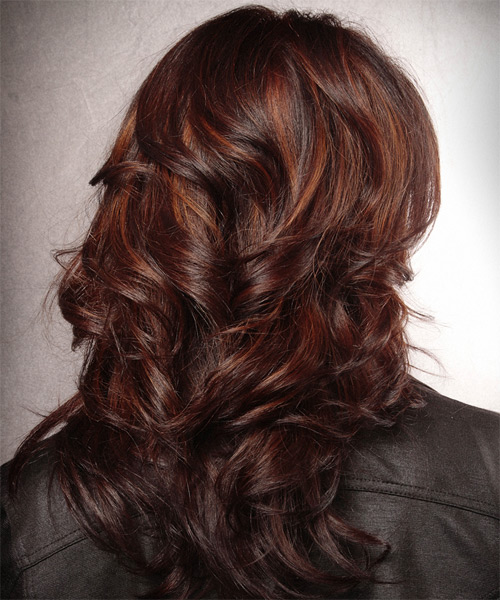 Long Wavy   Dark Burgundy Red   Hairstyle   with  Red Highlights - Side on View
