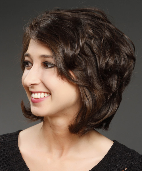 Short Straight Casual    Hairstyle   - Dark Brunette Hair Color - Side on View