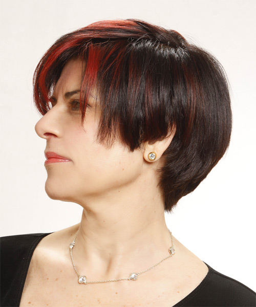 Short Straight Casual   Hairstyle   - Black - Side on View