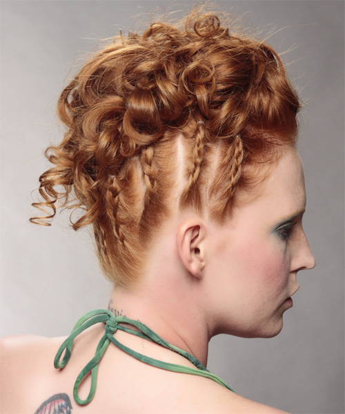Long Curly Formal   Updo Hairstyle   - Light Ginger Red Hair Color - Side on View