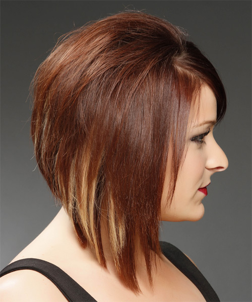 Medium Straight Formal Bob  Hairstyle   - Medium Red (Mahogany) - Side on View