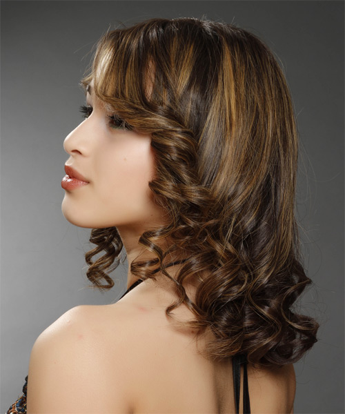 Medium Curly Formal    Hairstyle   - Dark Brunette Hair Color with Dark Blonde Highlights - Side on View