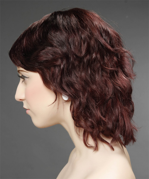 Medium Wavy Casual    Hairstyle with Side Swept Bangs  - Dark Burgundy Red Hair Color - Side on View