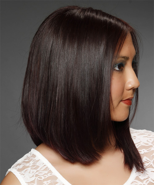 Medium Straight Formal   Hairstyle   - Dark Brunette - Side on View