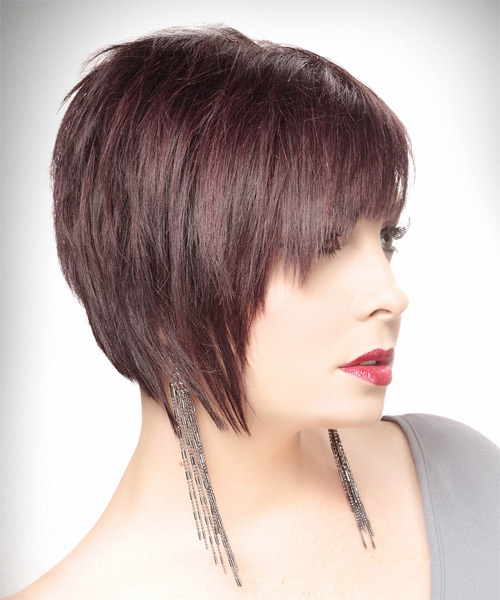 Short Straight   Dark Plum Red Asymmetrical  Hairstyle   - Side on View